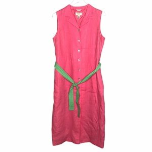 Talbots Irish Linen Sleeveless Shirt Dress Pink 14